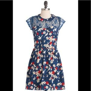 Yumi Bird Print Dress